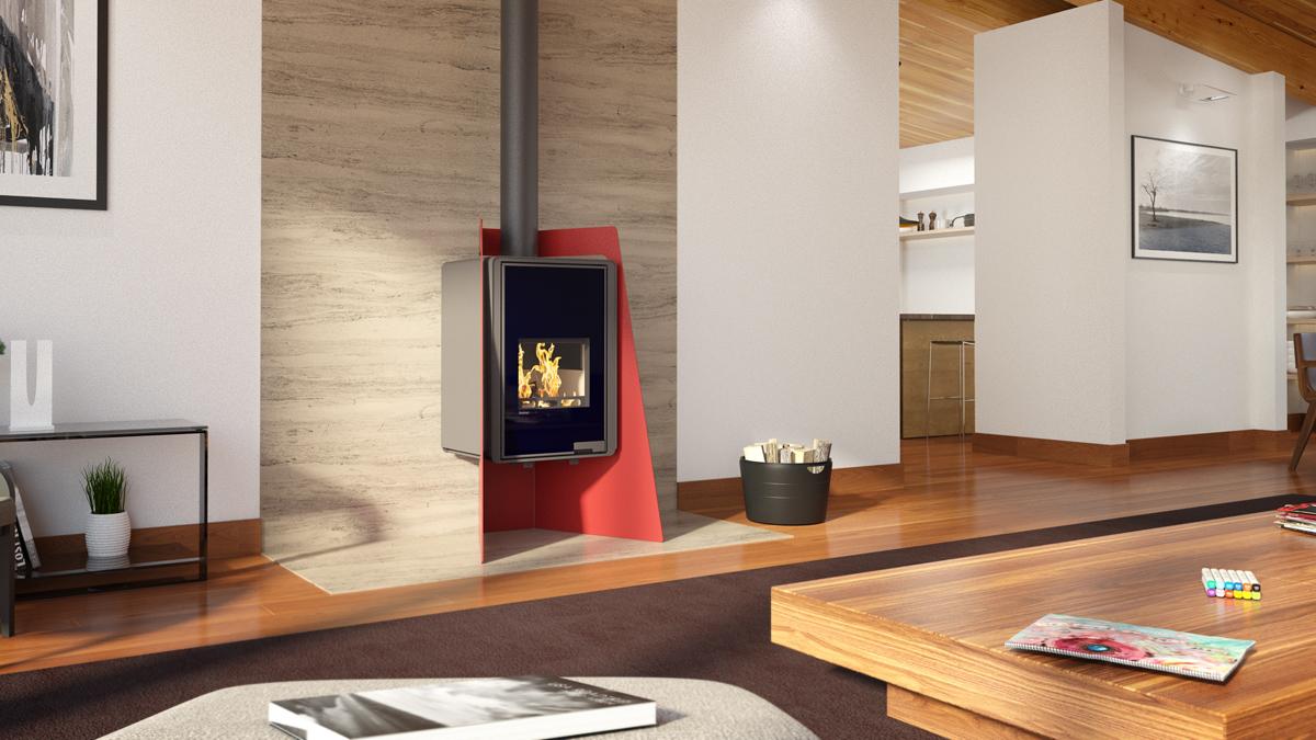 poele a bois flamingo deluxe island rouge dreyer. Black Bedroom Furniture Sets. Home Design Ideas